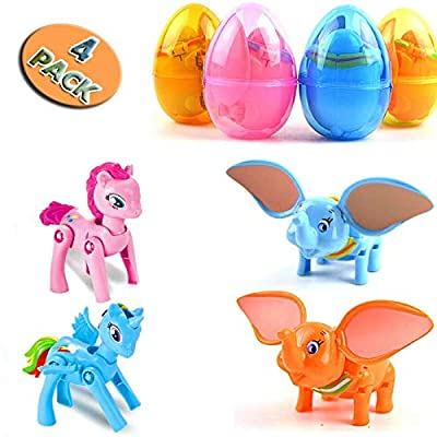 4 Pack Jumbo Unicorn and Elephant Deformation Easter Eggs with Toys Inside for Kids Boys Girls Easter Gifts Easter Basket Stuffers Fillers