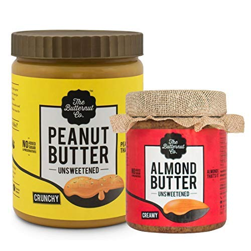 1 Kg Crunchy Unsweetened Peanut Butter & 200 gm Unsweetened Almond Butter - 1.2 Kg Combo Value Pack