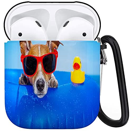 PANILUR Funda Protectora para Airpods, Perro Jack Russell en un colchón en el Agua del océano en la Playa, Verano con Gafas de Sol Rojas, Funda para Airpods 1 y 2 con Llavero, Funda Personalizada par