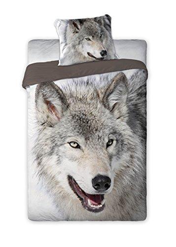 Bettwäsche 160x200 + 70x80 Bettbezug Bettgarnitur Wolf