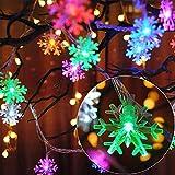 AndThere Cadena de Luces Guirnalda Luces 6M 40 LED Copo de Nieve Cadena de Luz Pilas Luces Navideñas Luces de Hadas de Copo de Nieve Impermeable para Decoración Interior Jardines Boda Fiesta Navidad