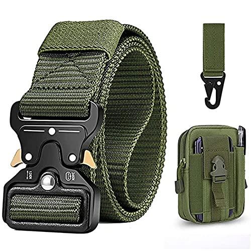Cinturón Táctico para Hombres, 1.5 pulgadas Cinturones de Lona de Nailon de Estilo Militar con hebilla con cierre rápido de hebilla de metal, regalo con bolsa táctica Molle y gancho