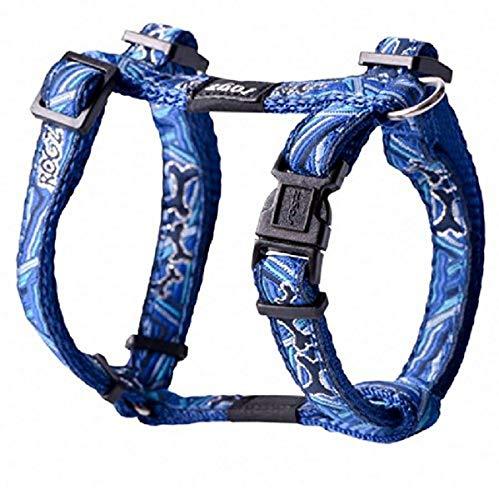 Premium Pattern Ribbon Designer Adjustable Dog H Harness for Medium Dogs; matching collar and leash available, Navy Zen Fresh Spring Design