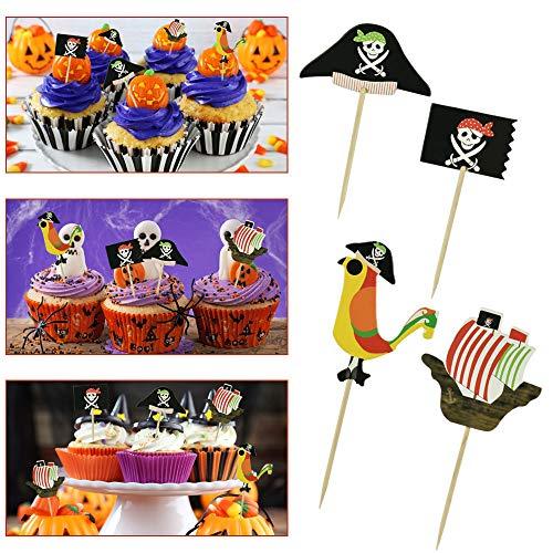 TANCUDER 48 PCS Topper Cupcake de Pirata con 4 Patrones Topper de Pastel de Bandera de Temática Pirata Palillos Decorativos de Piratas de Halloween para Tarta Comida de Fiesta Cumpleaños Halloween