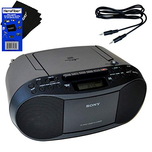 Sony CD Player Portable Boombox with AM FM Radio & Cassette Tape Player + Auxiliary Cable for Smartphones, MP3 Players & HeroFiber Ultra Gentle Cleaning Cloth