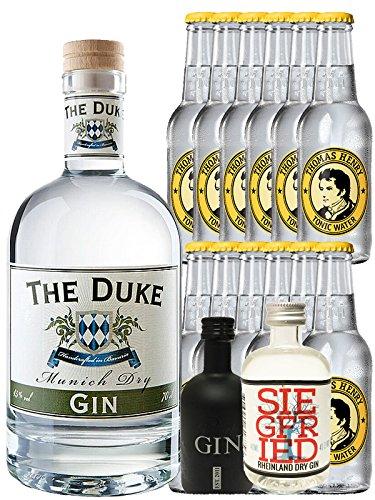 Gin-Set The Duke München Dry BIO Gin 0,7 Liter + Black Gin Gansloser Deutschland 5cl + Siegfried Dry Gin Deutschland 4cl + 12 x Thomas Henry Tonic Water 0,2 Liter