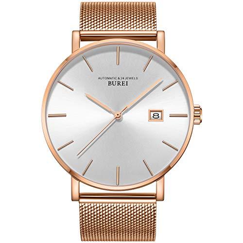 BUREI Hombres Relojes automáticos Minimalistas Cara Grande Blanco dial Calendario Ventana con Banda de Acero Inoxidable de Rosa Oro