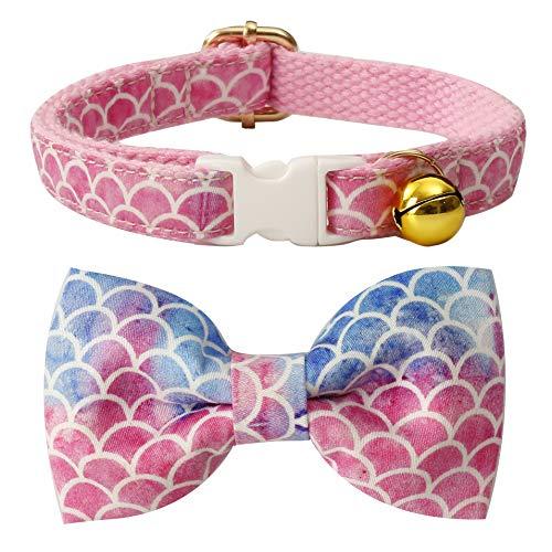 csspet Katzenhalsband mit Schleife und Glöckchen, Sicherheitskunststoffschnalle für Katzen, 8'-13' Neck, Meerjungfrau-Türkis