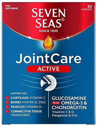 Seven Seas JointCare Max with Glucosamine, Omega-3, Collagen, vitamin C and vitamin D, supplements for Joints, 60 capsules, 1 month supply