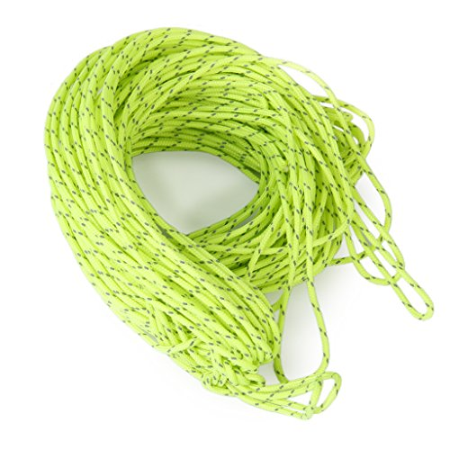 MagiDeal Premium Reflective Guyline Tent Cord - 20m, Fluorescent Green - Camping Tent/Awning/Canopy Rope, Outdoor Cord Paracord Accessories - Fluorescent Green, 1.8mm Dia.