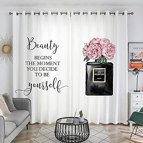 QPCGRA Cortinas Opacas Modernas Blanco Negro Letra Perfume Rosa peonía Flor Opacas de Salón Decoración para Habitación Dormitorio Moderno Suaves 2 Piezas con Ojales 110x215cm