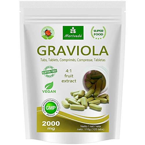 Graviola tabletes 120 x 2000 mg 4: 1 vegānu augļu ekstrakts, kvalitatīvs produkts no MoriVeda (1x120 cilnes)
