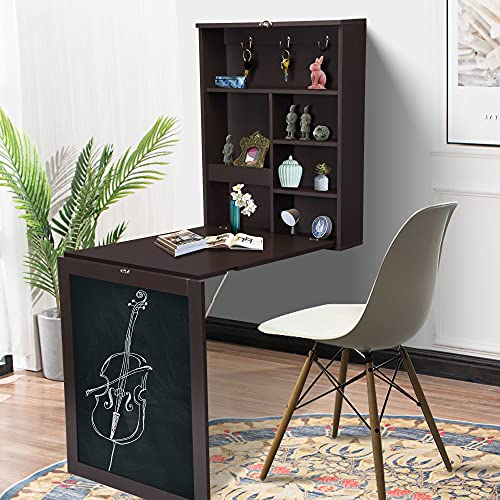 Wall Mounted Desk Fold Out Computer Laptop Desk Floating Table with Storage Shelves and Chalkboard, Convertible Writing Desk wirh Bookshelves, Home Office Furniture, Brown