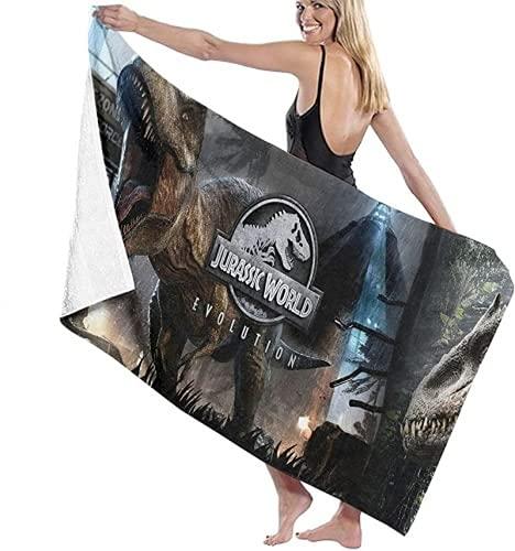 QWAS Toalla de playa Jurassic Park supersuave, absorbente, portátil, muy suave, adecuada para niños y niñas (Jurassic 4,100 x 200 cm)