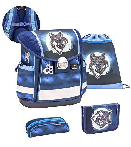Belmil ergonomischer Schulranzen Set 4-teilig mit Brustgurt/Jungen 1. klasse 2. klasse 3. klasse - Super Leicht 860-950 g/Wolf/Blau (403-13/S/C Wolf Moon)