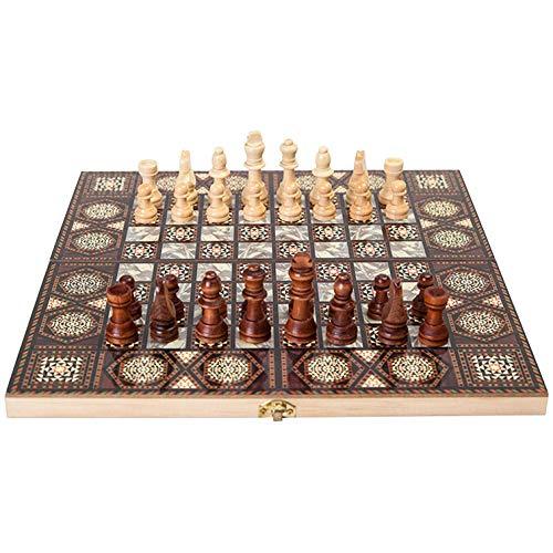 MNBV Juego de ajedrez de madera 3 en 1 de ajedrez de ajedrez plegable – ajedrez hecho a mano – Juego de ajedrez plegable para niños adultos principiantes