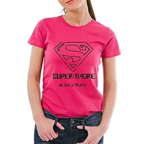 Calledelregalo Regalo para Madres Personalizable: Camiseta 'SuperMadre' Personalizada con el Nombre o Nombres Que tú Quieras (Rosa)
