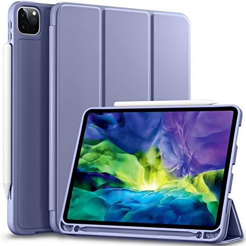 Vobafe Hülle Kompatibel mit iPad Pro 11 2020 & 2018, TPU Schutzhülle mit Stifthalter für iPad Pro 11 Zoll [Unterstützen Sie Pencil der 2. Generation] [Auto Wake/Sleep] [Voller Schutz], Blau Grau
