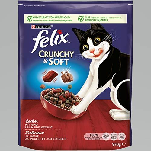 Felix Crunchy & Soft Pienso seco para Gatos (4Paquetes de 950g)