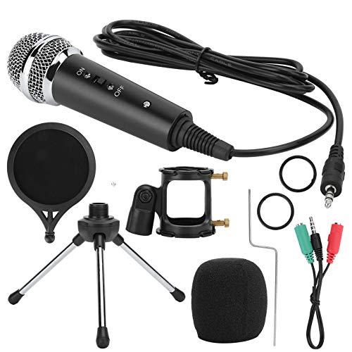 Fdit Kit de micrófono en Vivo, micrófono de transmisión en Vivo Profesional con cancelación de Ruido con trípode, para Estudio de transmisión, Estudio de Voz, Estudio de grabación, 30Hz-20KHz