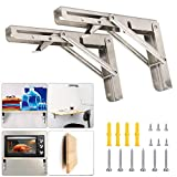 Folding Shelf Brackets 18 Inch with Install Screws, 2pcs Heavy Duty Stainless Steel 304 Collapsible Shelf Bracket Wall Mounted Triangle Brackets for DIY Table Work Bench, Max Load 300 lb