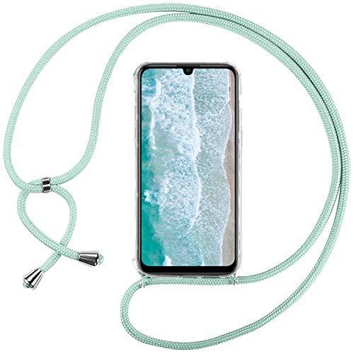 Ingen Funda con Cuerda para Huawei P Smart Plus 2019 / Honor 20 Lite - Carcasa Transparente TPU Suave Silicona Case con Colgante - Verde
