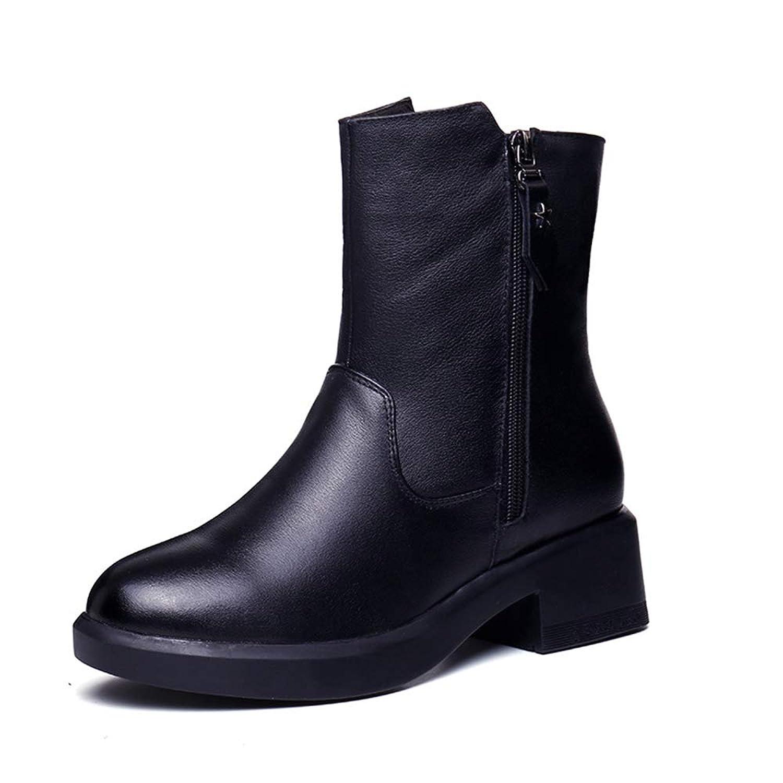 [GoldFlame-JP] ミドルブーツ マーティンブーツ レディース ショート 冬用 ボア付き サイドジップ 太ヒール ライダースブーツ ふわふわ あったか 防寒 美脚 可愛い コンフォート 歩きやすい 女性用 ブーツ ブラック黒