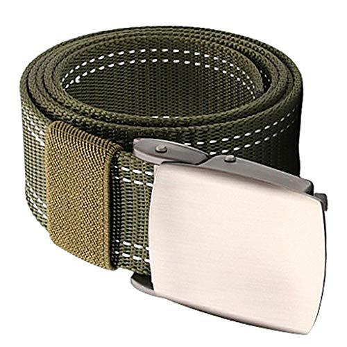 B Baosity Cinturón de Lona de Nailon para Hombre Cinturón de Tela Militar Deportivo 1.5'Ancho Ajustable - Verde, El 120cm