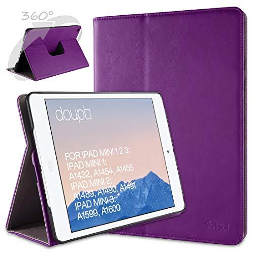 doupi Deluxe Schutzhülle für iPad Mini 1 2 3, Smart Hülle Sleep/Wake Funktion 360 Grad drehbar Schutz Hülle Ständer Cover Tasche, lila