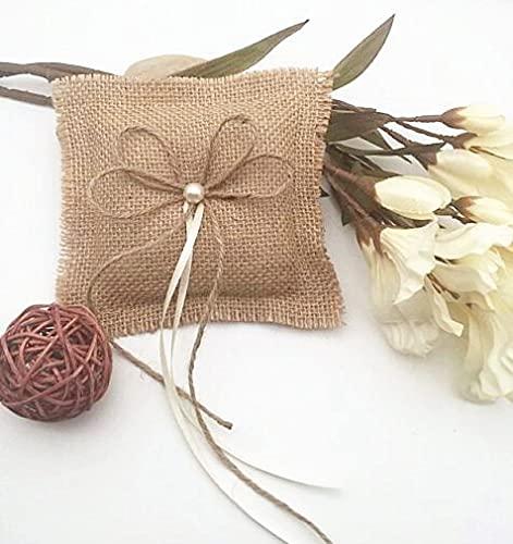 XKMY Almohada de anillo hecha a mano de arpillera para boda, decoración de boda, anillo de boda, almohada (color: 15 cm x 15 cm)