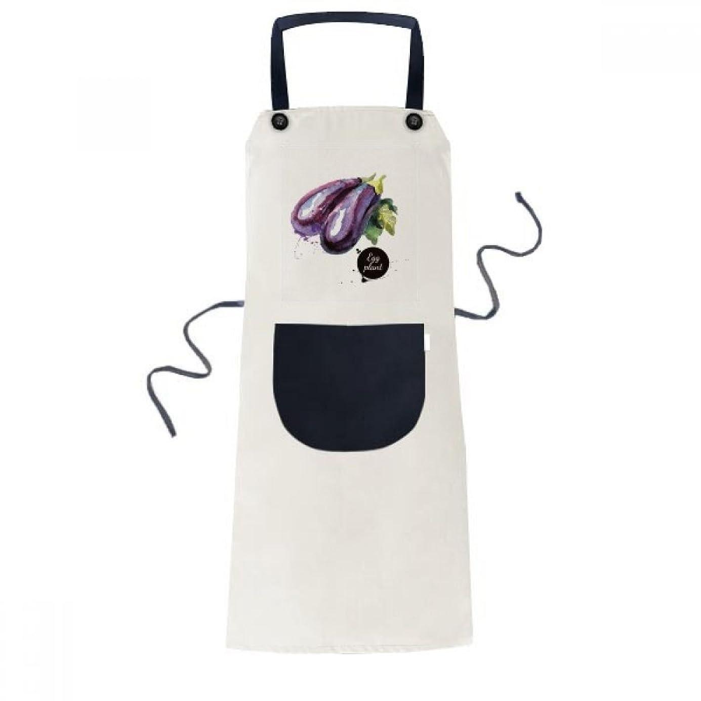 伝記強調するラッシュ茄子と野菜のおいしい健康的な水彩画 料理のキッチンベージュの調節可能な前掛けエプロンのポケットは、女性が男性のシェフ?ギフト