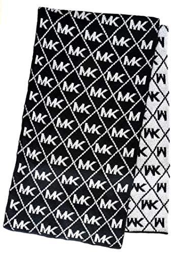Michael Kors Womens MK Logo Metallic Scarf Dazzling Knit BlackSilverGrey