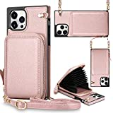 JAKPAK Compatible with iPhone 12 Pro Max Case Wallet Zipper Leather Case with Card Holder Slots Protective Square Cover with Lanyard Shockproof Case Compatible with iPhone 12 Pro Max 6.7inch Rose Gold