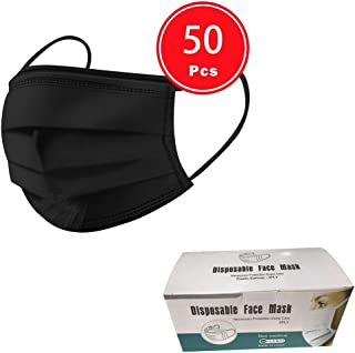 50/100 PCS 3 Ply Face Cover Dustproof, Disposable 3 layer Non-woven Anti-Particle Anti-droplet Anti-pollen Dust-proof Breathable Dustproof, Pack (50PCS, Black)