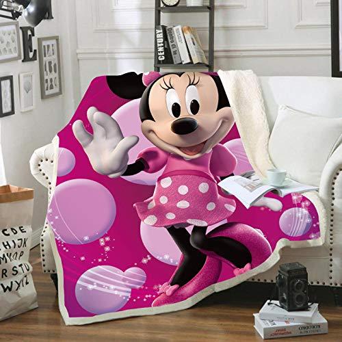 YKOUT 150X200Cm Cartoon Minnie Mickey Maus, Weiches Flanell Sherpa Sherpa Sommerdecke Deckenwurf Für Kinder Kinder Auf Bett Sofa Couch