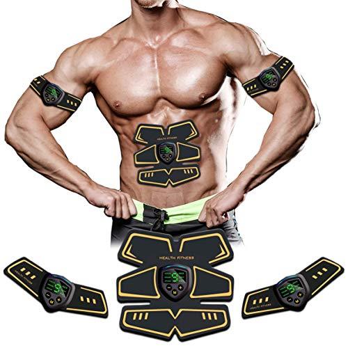 WARDBES EMS Trainingsgerät, EMS Bauchmuskeltrainer, USB-Wiederaufladbarer Tragbarer Muskelstimulator, Bauchtrainer Elektrisch für Bauch, Arm, Bein-Fitness Trainings Gang