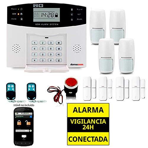 Alarma Hogar AZ017-2 gsm Castellano sin cuotas para casa. Facil instalación. Asistencia telefónica en Castellano. App con Control Remoto SMS. Facil configuración. Protección y Seguridad hogar (Kit 2)