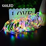 Lalapao Rope Lights Solar Xmas String Lights 2 Pack 120 LED Christmas Copper Fairy Decor Lighting with 8 Modes for Tree Outdoor Indoor Garden Patio Holiday Bedroom Wedding (Warm White)