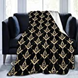 Masonic Square Sherpa Fleece Blanket Throw for Home Office Travel Couch Sofa Warm Cozy Lightweight Fleece Bed Blanket Winter 50x40 inch