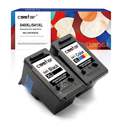 CSSTAR Wiederaufbereitet Tintenpatrone als Ersatz für PG-540XL CL-541XL für Canon Pixma MG4250 MG3650 MX535 MG3550 MX395 MG3250 MX375 MX455 MX435 MG3150 MX515 MG2250 Drucker (Schwarz Farbe, 2er-Pack)
