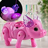 Avenidtich Electric Piggy Toy Gift for Kids, Walking Singing Musical Light Pig Toy with Leash Interactive, Pink Music Pig Robot Animal Toy, Baby Toddler Birthday Present (Pink)