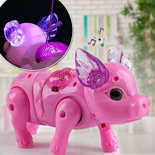 ODRD Walking and Singing Pig - Kid Toys Walking Singing Musical Light Pig Electric Toy with Leash Interactive - Kinder Spielzeug Geschenk