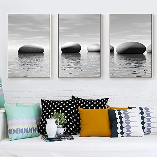 woplmh - Moderno póster de Piedra Creativa con Aspecto de mar, Lienzo, Pintura Abstracta, Cuadro de impresión de Pared, Dormitorio, salón, decoración, Pintura de 40 x 60 cm x 3 Piezas, sin Marco
