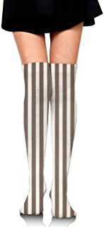 Knee High Tube Socks For Girls, Women's Cute Brown Stripe Prints Over Thigh High Long Stockings