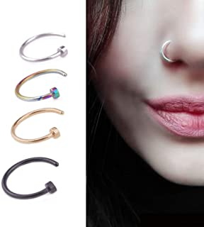 display08 Punk 4 Pezzi Fashion Stainless Steel Lip Nose Septum Ring Body Piercing Jewelry