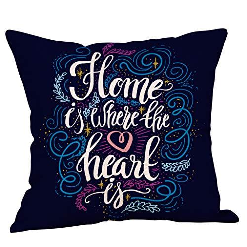 jieGorge Sweet Home Fundas de Almohada cuadradas de Lino de algodón para decoración del hogar, Funda de...