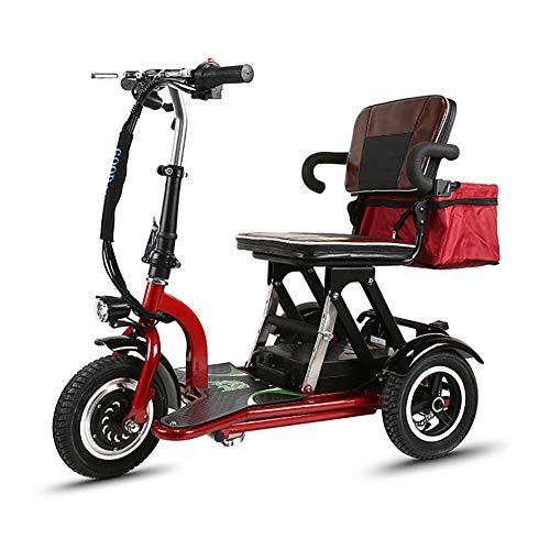 ANAN Opvouwbare 3 wiel Power Scooter, Lithium batterij aangedreven Mobiliteit Scooters Oudere mini elektrische driewieler voor 18/20/24/34mi