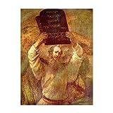 Poster - Rembrandt Moses mit den Gesetzestafeln 60x80 cm