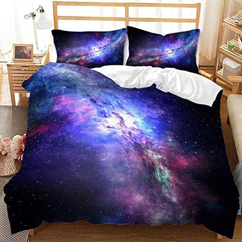 Juego De Funda Nórdica Cosmic Starry Sky De 3 Piezas, Funda De Edredón Elegante Púrpura con Cremallera Y 2 Fundas De Almohada De sobre Personalidad Elegante