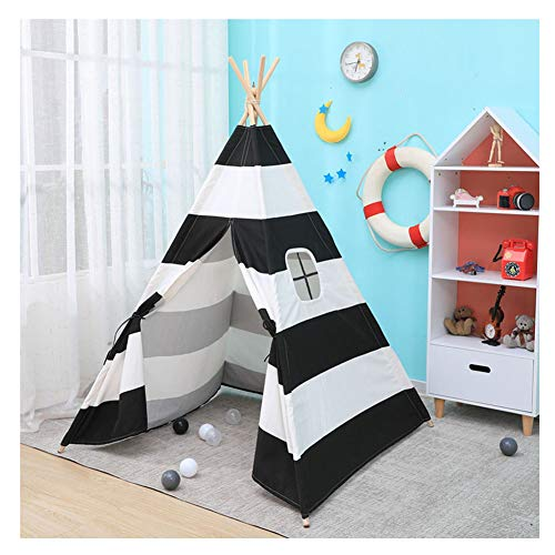 YOUCAI Kids Stripes Pattern Teepee Play Tent Children Large Canvas Playhouse for Boys and Girls with Window Black One Size